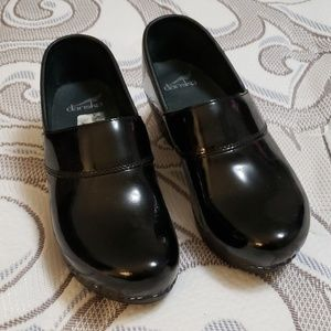 Dansko patent leather clogs, size 38